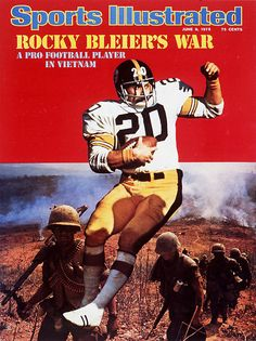 Rocky Bleier appears on the June 1975 cover of Sports Illustrated. A pick out of Notre Dame in Bleier had been drafted into the Army December of that year, after his rookie season,. Go Steelers, Pittsburgh Steelers Football, Pittsburgh Sports, Steelers Stuff, Football Pics, Giants Football, Football Memes, School Football, Football Cards
