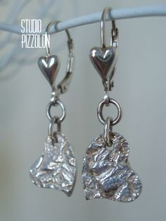 FINE SILVER, PMC SILVER TEXTURED HEART DANGLE EARRINGS, STERLING SILVER by STUDIO PIZZOLON, $24.95 USD