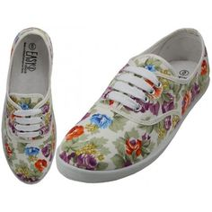 0962245ca9e7d Wholesale Women s White Floral Printed Canvas Shoe - W6509 - 24 Pairs to  Case - Only  6.75 Per Pair - Free Shipping
