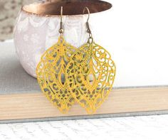 Your place to buy and sell all things handmade Yellow Earrings, Big Earrings, Vintage Earrings, Statement Earrings, Bridesmaid Accessories, Bridesmaid Jewelry, Bridesmaids, Bright Spring, Filigree Earrings
