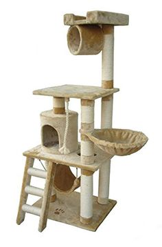 62 Boston Cat Tree in Beige Premium Cat Tree for Large Cats and Kittens Cat Furniture Bundles with Scratching Post Cat Condo and Cat Tree Hammock Cheap Cat Trees and Condos -- Find out more about the great product at the image link. Cat Tree Condo, Cat Condo, Large Cat Tree, Cat Stairs, Cat Activity, Tree Furniture, Boston Furniture, Condo Furniture, Furniture Design