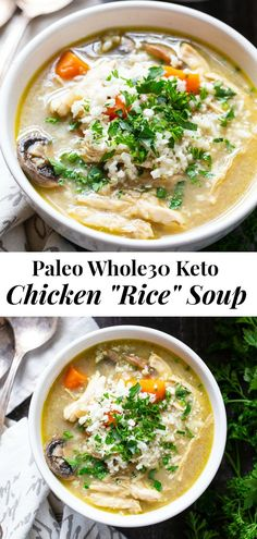 This Paleo and Chicken Rice Soup is made fast in the Instant Pot so it's great for meal prepping and weeknights! This cozy soup has lots of flavor and is packed with veggies and protein. Paleo Recipes Easy, Whole 30 Recipes, Clean Eating Recipes, Soup Recipes, Whole Food Recipes, Paleo Meals, Dinner Recipes, Bacon Recipes, Shoulder Length Hair