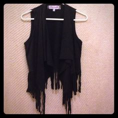 Black fringe vest Black fringe vest, not suede but has a similar feel Oona and maud Jackets & Coats Vests