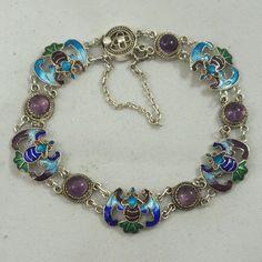 Vintage Sterling Silver Chinese Export Enamel 5 Blessings Bat Amethyst Bracelet
