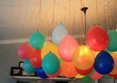 balloons balloons balloons - Hang the balloons upside down for a bubble ceiling look