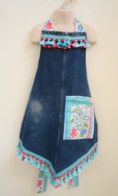 Tablier de Jeans Denim recyclé forme Unique par LizziBsBoutique