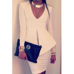 USD9.49High Quality Vogue V Neck Long Sleeves Split White Polyester One-piece Sheath Mini Peplum Dress