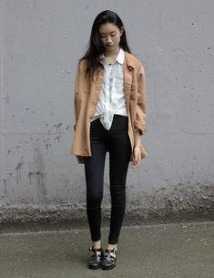 American Apparel Chiffon Oversized Button Down, American Apparel Easy Jeans, American Apparel Juju Jellies