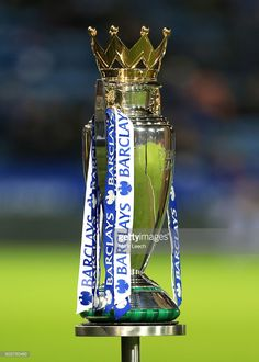 The Premier League trophy stands on a plinth ahead of the Barclays Premier League match between Leicester City and Manchester City at the King Power Stadium on December 29, 2015 in Leicester, England.