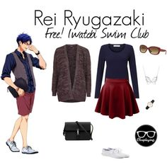 Casual cosplay of Rei Ryugazaki (from Free! Iwatobi Swim Club or Eternal Summer anime series)-- character inspired outfit Casual Cosplay, Cosplay Outfits, Anime Outfits, Emo Outfits, Anime Inspired Outfits, Character Inspired Outfits, Themed Outfits, Fandom Fashion, Nerd Fashion