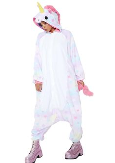 Sazac Dreamin' Unicorn Kigurumi could you be any dreamier?! This comfy af onesie has pastel colored stars all ova with a unicorn head hood and a furry tail on the back.