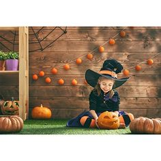 7a40ec1c5e3 Allenjoy 7x5ft photography backdrop background indoor Happy Halloween  decoration pumpkins wooden wall grass witch kids girl boys props photo  studio booth