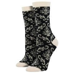 Purple Leopard Boutique - Women's Bamboo Crew Socks Brocade Black and Off White, $13.50 (http://www.purpleleopardboutique.com/womens-bamboo-crew-socks-brocade-black-and-off-white/)