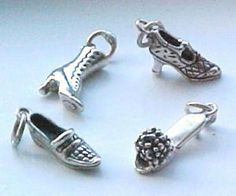 Sterling Silver Fashion Woman's Shoe Charms in 4 Different
