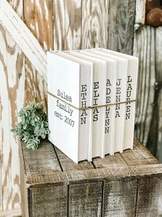 Awesome farmhouse decor bedroom are readily available on our site. look at this and you wont be sorry you did. Farmhouse Books, Farmhouse Decor, Farmhouse Style, Book Crafts, Diy Crafts, Decor Crafts, Dyi, Painted Books, Wooden Books