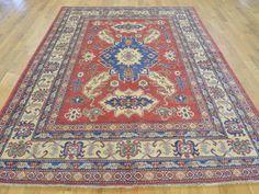 "Buy 5'10""x8'3"" Super Kazak Hand Knotted Pure Wool Geometric Rug  #rug #rugstore #rugsale #arearug #rugcleaning #rugwash #rugshopping #rugrepair #carpetcleaning"