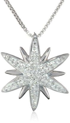 """Sterling Silver White Starburst with Swarovski Elements Pendant Necklace, 18"""" Amazon Collection-$41.23 http://www.amazon.com"""