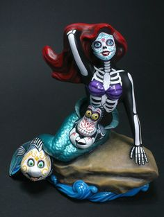 Day of the Dead The Little Mermaid with Flounder by temikasperry
