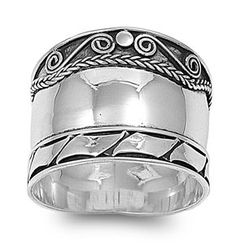 Amazon.com: 18MM VINTAGE BALI BOHEMIAN STYLE OXIDIZED .925 STERLING SILVER RING SIZE 6-10: Jewelry