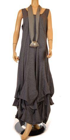 Fantabulous Black & Grey Stripe Lagenlook Plus Size Flag Dress