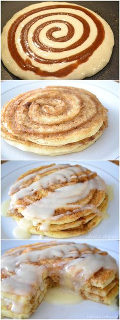 toptenlook: Cinnamon Roll Pancakes OMG, yum!! And such simple everyday ingredients!! #dessert #recipes #treat #healthy #recipe