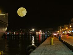 a night at Chios Island Chios, Best Honeymoon, Night Photos, World Best Photos, Greek Islands, Stars And Moon, Planet Earth, Homeland, Dream Vacations