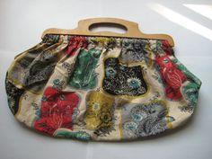 Vintage 1950s knitting / sewing, wooden handles, floral pattern on geometric blocks