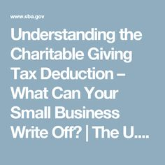 Understanding the Charitable Giving Tax Deduction – What Can Your Small Business Write Off? | The U.S. Small Business Administration | SBA.gov