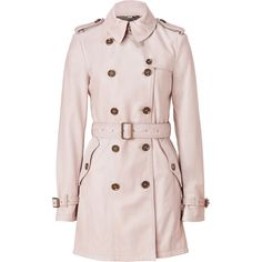 BURBERRY BRIT Oyster Lambskin Iverdown Trench Coat ($2,005) ❤ liked on Polyvore