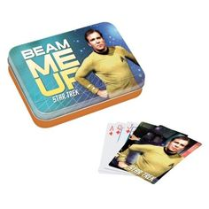 "Star Trek ""Beam Me Up"" Playing Card Set by Vandor. $12.99. Fans of Star Trek will love this card set and collectible tin. ""Beam me up, Scotty!"" is a catch phrase that made its way into pop culture from the TV series Star Trek. It comes from the command Captain Kirk gives his transporter chief, Scotty, when he needs to transport back to the ship. Interestingly, the exact phrase was never actually spoken in any Star Trek television episode or film.. Save 35% Off!"