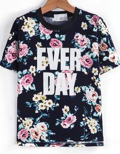 Blue Short Sleeve Floral EVER DAY Print T-Shirt - Sheinside.com