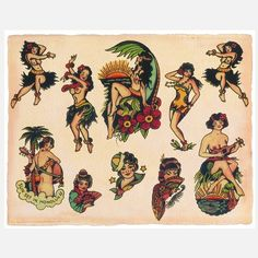 like the top left and right hula dancers upper half. hair could work with my…