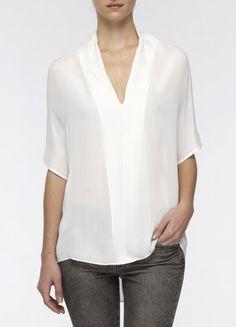 vince drape neck silk blouse
