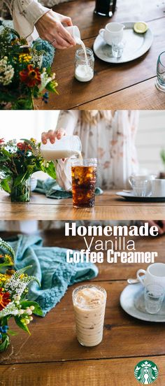 This simple, delicious vanilla creamer adds subtle flavor to your favorite coffee. Recipe: Pour ½ cup half and half, ½ cup whole milk and 1 tsp Starbucks® Vanilla Syrup into a mason jar. Tighten the lid and shake thoroughly. Store in the refrigerator for up to 2-3 weeks. We love using the vanilla creamer to top off Starbucks Cold Brew. Enjoy!