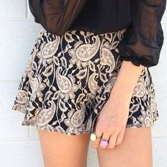 paisley lace shorts with sheer black blouse
