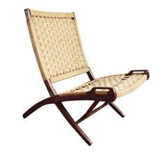 Beau Hans Wegner Style Jute Folding Chair