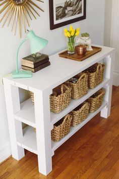 We have 69 entry table thoughts that will improve your home. The photos of the entry table thoughts are differing, from rich great to woodwork, vintage entry table. Diy Entryway Table, Diy Table, Entryway Storage, Entryway Organization, Entryway Ideas, Organization Ideas, Small Home Organization, Storage Ideas, Rustic Entryway