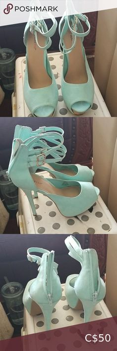 JustFab mint green heels 🔥Moving Sale🔥 Mint green hells in great condition, looks amazing with jeans, gold details on buckles at the top zipper detail at the back and gold detail at the front JustFab Shoes Heels Burgundy Heels, Black Strappy Heels, Black Stilettos, Blue Heels, Lace Up Heels, Shoes Heels, Mint Green Heels, Floral Heels, Open Toe High Heels