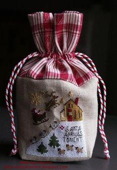 Neat idea -love the contrasting fabric, drawstring etc