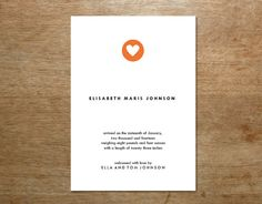 Modern Birth Announcement Printable  Simple Heart by empapers, $15.00