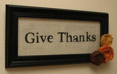 Burlap Give Thanks Sign