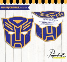 Transformers Invitation Printable for Transformers Birthday Party. Transformer Autobots logo Invitation style. Personalized.
