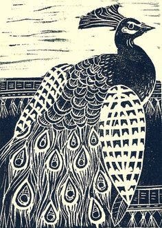Peacock lino print by Mangle Prints on Flickr.