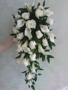 #shower bouquet roses and calla lilies by Lily White florist