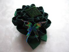 Gift of the Greenwood Kanzashi Dice Flower Hair by MountainMusings, $60.00