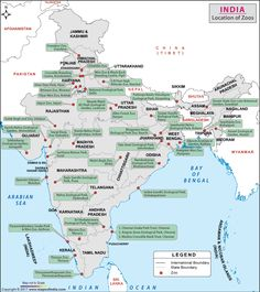 Find the List of Zoos in India with their location and States names. Also Find the list of 3 biggest Zoo of India. General Knowledge Book, Gernal Knowledge, Knowledge Quotes, World Geography Map, Geography Lessons, India World Map, India Map, Indian River Map, Zoo In India