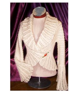 Angelina Vintage Jacket    This curvy style was inspired by a 1940's bed jacket.  Our updated version has romantic lace edging and a 2x2 ribbed body.  Knit this vintage beauty in Cascade 220 Sport, a fantastically economical 100% wool yarn.