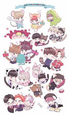 Exo Exo Stickers, Tumblr Stickers, Cute Stickers, Kpop Exo, Chibi Exo, Chen, Exo Cartoon, Exo Anime, Exo Fan Art
