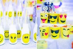 Adam's Emoji-fied Themed Party – Desserts Emoji Theme Party, Party Themes, Party Ideas, Emoji Photo, Adam S, Emoji Faces, Different Games, Kid Table, Heart For Kids