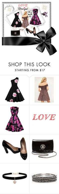 """""""Rose gal"""" by sabahetasaric ❤ liked on Polyvore featuring WALL, Miu Miu, Chanel, Betsey Johnson, Chico's and claire's"""